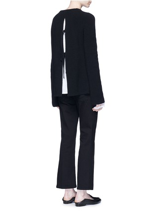Figure View - Click To Enlarge - HELMUT LANG - Belted open back cotton-cashmere sweater