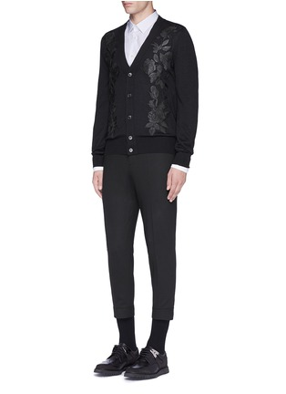 Figure View - Click To Enlarge - Alexander McQueen - Waxed floral embroidery wool-silk cardigan