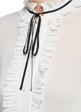 Detail View - Click To Enlarge - Gucci - Ribbon neck ruffle voile shirt