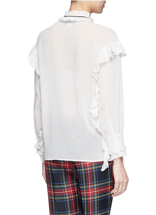Back View - Click To Enlarge - Gucci - Ribbon neck ruffle voile shirt