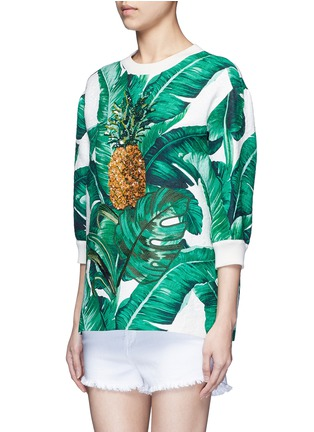 Front View - Click To Enlarge - Dolce & Gabbana - Pineapple embroidery leaf print brocade top