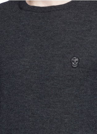 Detail View - Click To Enlarge - Alexander McQueen - Skull embroidery cashmere sweater
