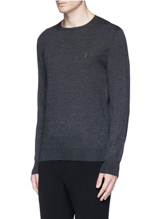 Front View - Click To Enlarge - Alexander McQueen - Skull embroidery cashmere sweater