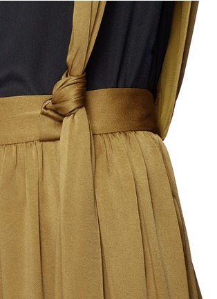 Detail View - Click To Enlarge - Lanvin - Knotted suspender crepe maxi skirt