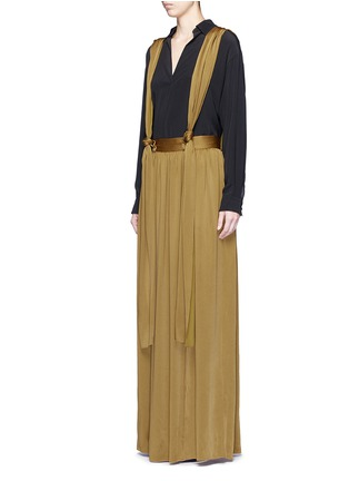 Front View - Click To Enlarge - Lanvin - Knotted suspender crepe maxi skirt