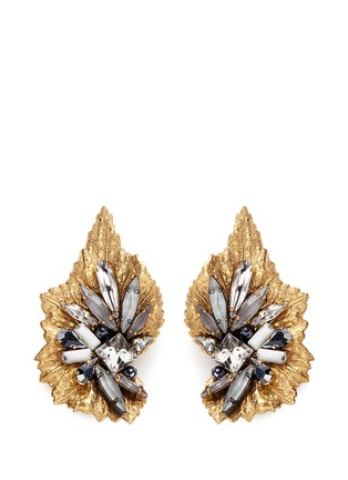 Main View - Click To Enlarge - Erickson Beamon - 'Milky Way' 24k gold plated brass Swarovski crystal leaf earrings