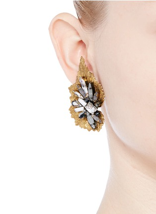 Figure View - Click To Enlarge - Erickson Beamon - 'Milky Way' 24k gold plated brass Swarovski crystal leaf earrings
