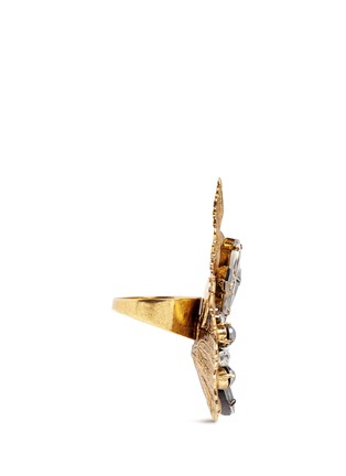Figure View - Click To Enlarge - Erickson Beamon - 'Milky Way' 24k gold plated brass Swarovski crystal leaf ring