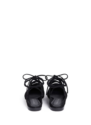 Back View - Click To Enlarge - Stuart Weitzman - 'String Down' crisscross lace-up suede mules