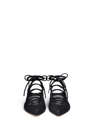 Front View - Click To Enlarge - Stuart Weitzman - 'String Down' crisscross lace-up suede mules