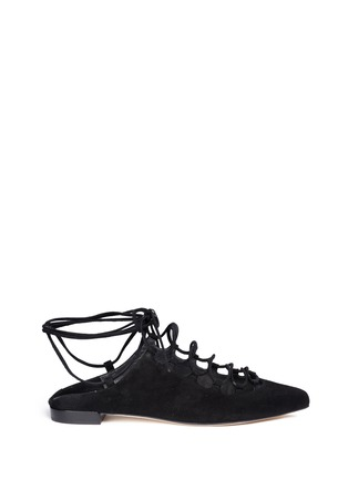Main View - Click To Enlarge - Stuart Weitzman - 'String Down' crisscross lace-up suede mules