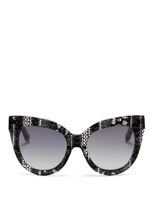 Main View - Click To Enlarge - Linda Farrow Designers Collection - x Erdem lace print acetate cat eye sunglasses