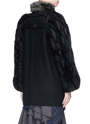 Back View - Click To Enlarge - FACETASM - 'Jovial' honeycomb sleeve wool coat