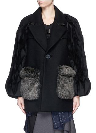 Main View - Click To Enlarge - FACETASM - 'Jovial' honeycomb sleeve wool coat