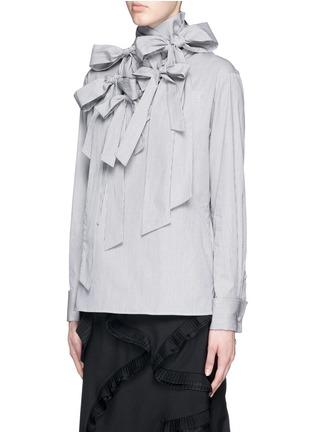 Front View - Click To Enlarge - FACETASM - '5 Face Ribbon' stripe cotton poplin shirt