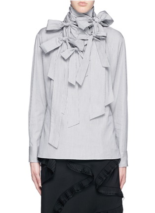 Main View - Click To Enlarge - FACETASM - '5 Face Ribbon' stripe cotton poplin shirt