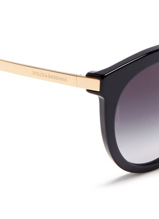 Detail View - Click To Enlarge - Dolce & Gabbana - Metal temple acetate round cat eye sunglasses