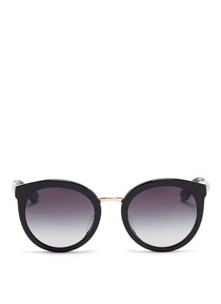 Main View - Click To Enlarge - Dolce & Gabbana - Metal temple acetate round cat eye sunglasses