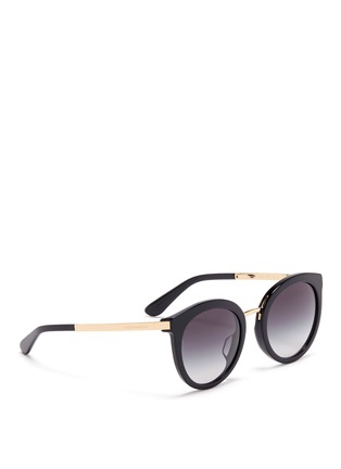 Figure View - Click To Enlarge - Dolce & Gabbana - Metal temple acetate round cat eye sunglasses