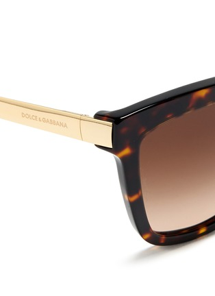 Detail View - Click To Enlarge - Dolce & Gabbana - Metal temple tortoiseshell acetate sunglasses