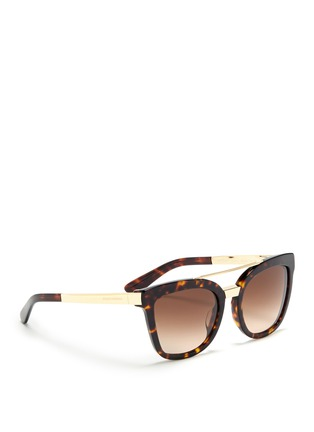 Figure View - Click To Enlarge - Dolce & Gabbana - Metal temple tortoiseshell acetate sunglasses