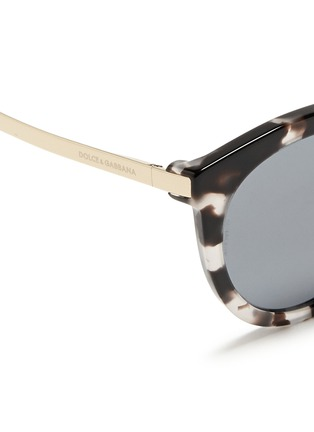 Detail View - Click To Enlarge - - - Metal temple tortoiseshell acetate round sunglasses