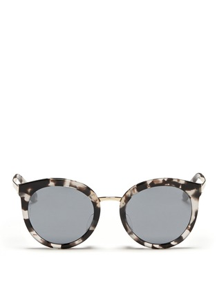 Main View - Click To Enlarge - - - Metal temple tortoiseshell acetate round sunglasses