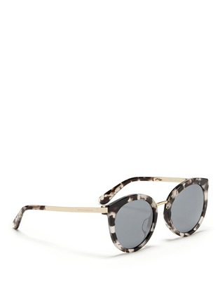 Figure View - Click To Enlarge - - - Metal temple tortoiseshell acetate round sunglasses