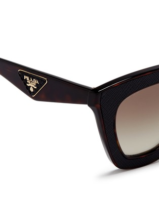 Detail View - Click To Enlarge - Prada - Inset leather rim tortoiseshell acetate sunglasses