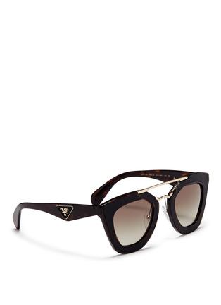Figure View - Click To Enlarge - Prada - Inset leather rim tortoiseshell acetate sunglasses