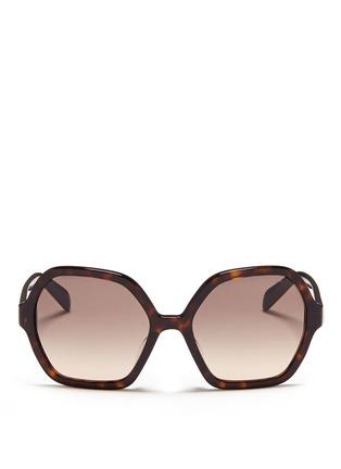 Main View - Click To Enlarge - Prada - Tortoiseshell effect acetate hexagonal sunglasses