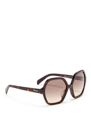 Figure View - Click To Enlarge - Prada - Tortoiseshell effect acetate hexagonal sunglasses