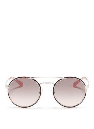 Main View - Click To Enlarge - Prada - Tortoiseshell acetate rim metal round sunglasses