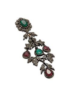 Aishwarya Diamond gemstone 14k gold silver drop earrings