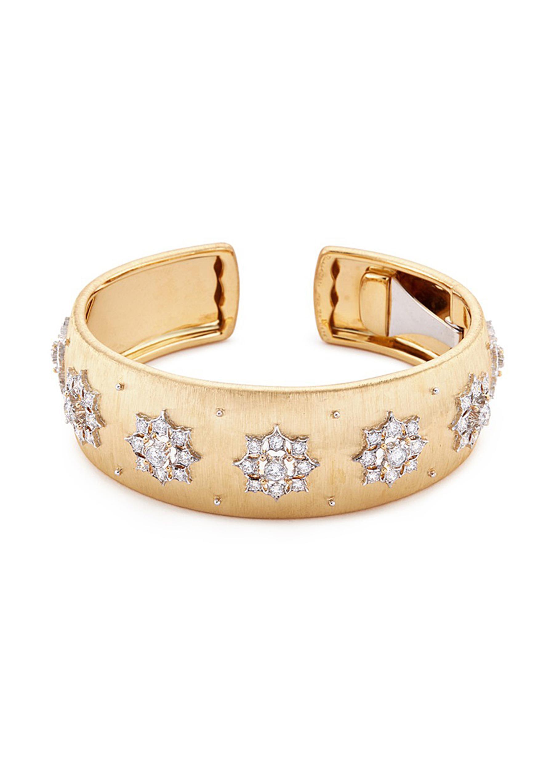 Diamond floral 18k yellow gold cuff