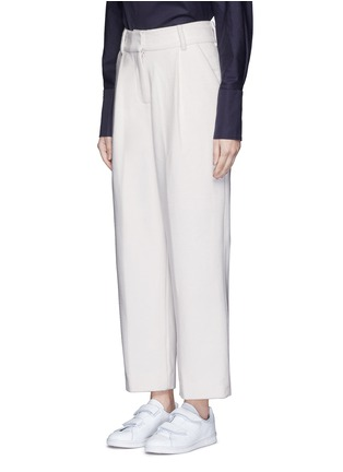 Front View - Click To Enlarge - FFIXXED STUDIOS - Pleated wide leg felted wool trousers