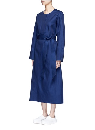 Front View - Click To Enlarge - FFIXXED STUDIOS - 'Out' belted cotton-tencel dress