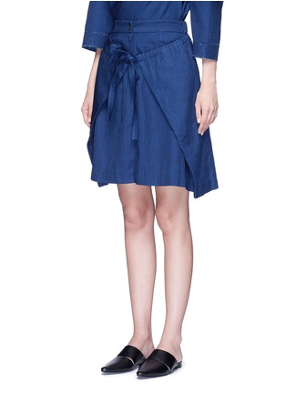 Front View - Click To Enlarge - FFIXXED STUDIOS - 'Zoe' front wrap cotton-tencel skirt