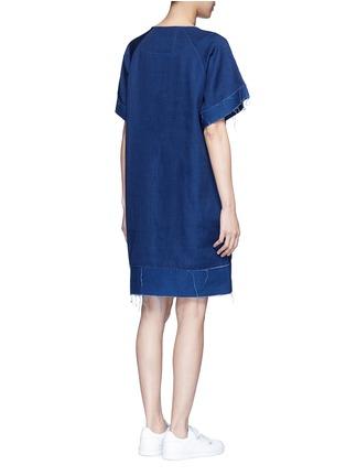 Back View - Click To Enlarge - FFIXXED STUDIOS - Frayed edge cotton-tencel unisex dress