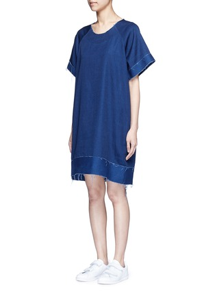 Front View - Click To Enlarge - FFIXXED STUDIOS - Frayed edge cotton-tencel unisex dress