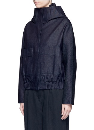 Front View - Click To Enlarge - FFIXXED STUDIOS - Hooded Japanese cotton denim bomber