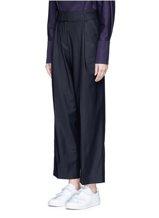 Front View - Click To Enlarge - FFIXXED STUDIOS - Pleated wide leg wool blend trousers