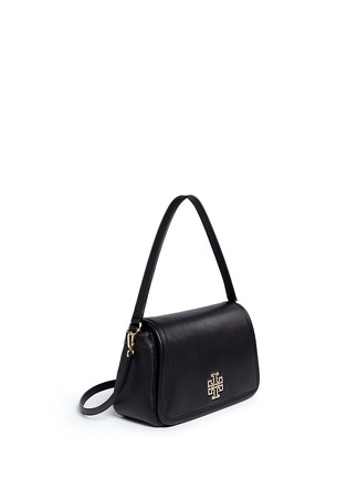 Front View - Click To Enlarge - TORY BURCH - 'Britten' cutout logo pebbled leather shoulder bag