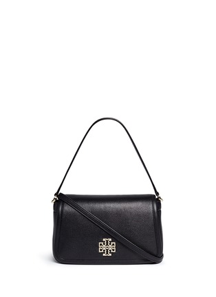 Main View - Click To Enlarge - TORY BURCH - 'Britten' cutout logo pebbled leather shoulder bag