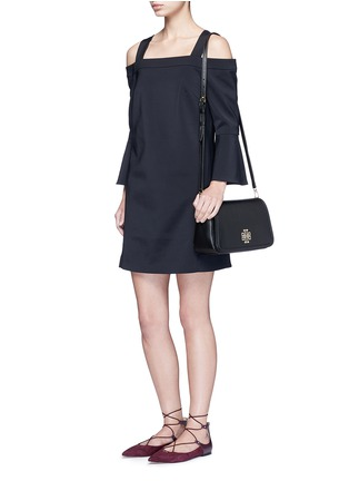 Figure View - Click To Enlarge - Tory Burch - 'Britten' cutout logo pebbled leather shoulder bag