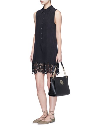Figure View - Click To Enlarge - Tory Burch - 'Britten' small pebbled leather chain tote