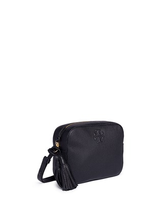 Front View - Click To Enlarge - TORY BURCH - 'Thea' pebbled leather crossbody tassel bag