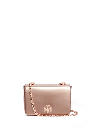 Main View - Click To Enlarge - TORY BURCH - 'Mercer' adjustable metallic leather shoulder bag
