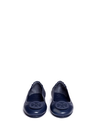 Front View - Click To Enlarge - Tory Burch - 'Minnie Travel' leather ballet flats