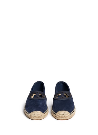 Front View - Click To Enlarge - Tory Burch - 'Sidney' cutout leather logo suede espadrilles